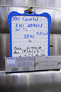 cooling coils on tank sign on tank water from reverse osmosis chateau belgrave haut medoc bordeaux france