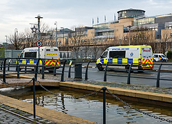 Pictured: Police search. Police  search hedges and buildings around Commercial Quay outside Scottish Government's Victoria Quay building. Two police vans and at least six police officers seen searching. 26 December 2018  <br /> <br /> Sally Anderson | EdinburghElitemedia.co.uk