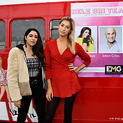 Claudia Sowaha and Lilly Douse attend Celeb Bri Tea, on board the BB Bakery bus on 22 March 2019, London, UK.