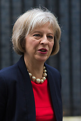 Downing Street, London, October 20th 2015.  Home Secretary Theresa May leaves 10 Downing Street after attending the weekly cabinet meeting