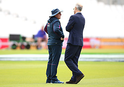 England coach Trevor Bayliss (left) and chief national cricket selector Ed Smith during a training session at The Oval, London.
