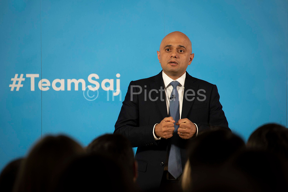 Home Secretary Sajid Javid delivers a speech as he formally launches his bid to become the new leader of the Conservative Party and Prime Minister of the United Kingdom on 12th June, 2019 in London, United Kingdom.