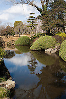 """Kairaku-en  """"A park to be enjoyed together"""" is a Japanese garden located in Mito. Along with Kenroku-en and Koraku-en, it is considered one of the Three Great Gardens of Japan. Kairakuen was built by the local lord Tokugawa Nariaki. Unlike Japan's other two great landscape gardens Kairakuen served not only for the enjoyment of the ruling lord, but was open to the public. Kairakuen is most attractive during the plum blossom or ume season, which usually takes place in late February and early March.."""