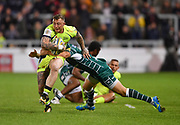 Sale Sharks wing Josh Charnley runs through London Irish full-back Tommy Bell during the The Aviva Premiership match Sale Sharks -V- London Irish  at The AJ Bell Stadium, Salford, Greater Manchester, England on September 15, 2017. (Steve Flynn/Image of Sport)