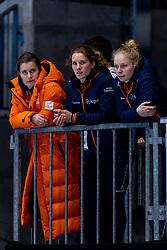 12-01-2019 NED: ISU European Short Track Championships 2019 day 2, Dordrecht<br /> Yara van Kerkhof #12 NED, Tineke den Dulk #152, Rianne de Vries #124