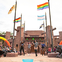 Blackout ABQ performs at the Welcome Reception and Queer Showcase in front of the Navajo Nation Council Chambers Friday, June 28 as part of DinéPride 2019 in Window Rock.