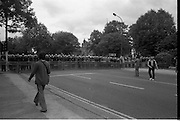 H-Block Protest To British Embassy.  (N86)..1981..18.07.1981..07.18.1981..18th July 1981..A protest march to demonstrate against the H-Blocks in Northern Ireland was held today in Dublin. After the death of several hunger strikers in the H-Blocks feelings were running very high. The protest march was to proceed to the British Embassy in Ballsbridge...Image shows the approaches to the British Embassy blocked off by Gardai with crowd control equipment.