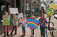 What better place to hold a NO MORE GRUMPY-NESS campaign than early Saturdday morning on Maine Street Brunswick. Third Graders Adeline Betsy, Claire Gia and Molly are part of the Destination Imagination Team and came up with the campaign all by themselves. From the mouths of babes....