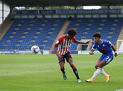 Courtney Senior of Colchester United puts in a cross - Mandatory by-line: Arron Gent/JMP - 03/10/2020 - FOOTBALL - JobServe Community Stadium - Colchester, England - Colchester United v Oldham Athletic - Sky Bet League Two