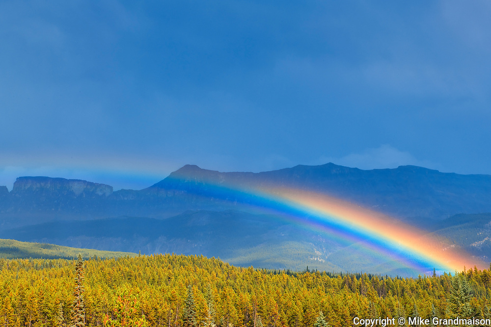 Rainbow and storm clouds along the Bow Valley<br />Banff National Park<br />Alberta<br />Canada