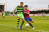 Forest Green Rovers Kaiyne Woolery(14) is challenged by Dagenham'sJoe Widdowson(3) during the Vanarama National League first leg play off match between Dagenham and Redbridge and Forest Green Rovers at the London Borough of Barking and Dagenham Stadium, London, England on 4 May 2017. Photo by Shane Healey.