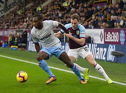 Michail Antonio of West Ham United (L) and Ashley Barnes of Burnley in action - Mandatory by-line: Jack Phillips/JMP - 30/12/2018 - FOOTBALL - Turf Moor - Burnley, England - Burnley v West Ham United - {event}
