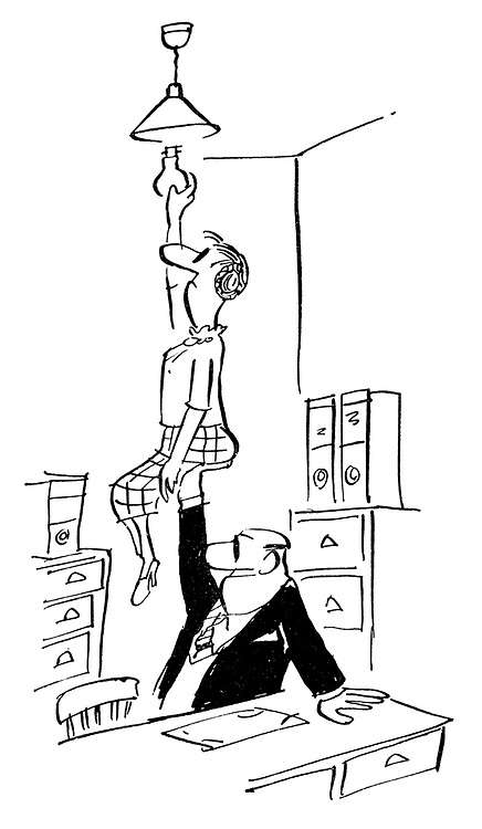 (Man in office lifts his colleague to change a lightbulb)