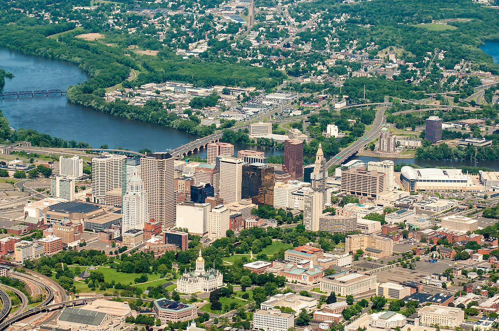 Aerial Photo of Hartford CT looking towards Glastonbury - State Capital visible