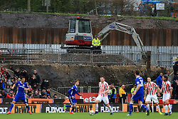 18th March 2017 - Premier League - Stoke City v Chelsea - A construction worker watches from the building site in the corner of the ground - Photo: Simon Stacpoole / Offside.