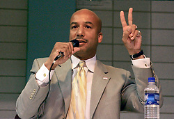 May 10th, 2006. New Orleans, Louisiana. Mayor Ray Nagin and victory at the debate with Lieutenant Governor Mitch Landrieu at a mayoral debate at the Audubon Institute Riverside association at the Sabis Academy Charter school in Uptown New Orleans.<br /> Photo; Charlie Varley/varleypix.com