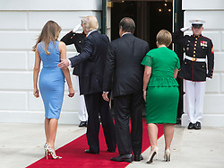 U.S. President Donald J. Trump and First Lady Melania Trump welcome President Juan Carlos Varela and his wife Lorena Castillo GarcÌa de Varela of Panama to The White House in Washington, DC. 19 Jun 2017 Pictured: Lorena Castillo GarcÌa de Varela, Donald Trump, Melania Trump, President Juan Carlos Varela. Photo credit: Ron Sachs / CNP / MEGA TheMegaAgency.com +1 888 505 6342
