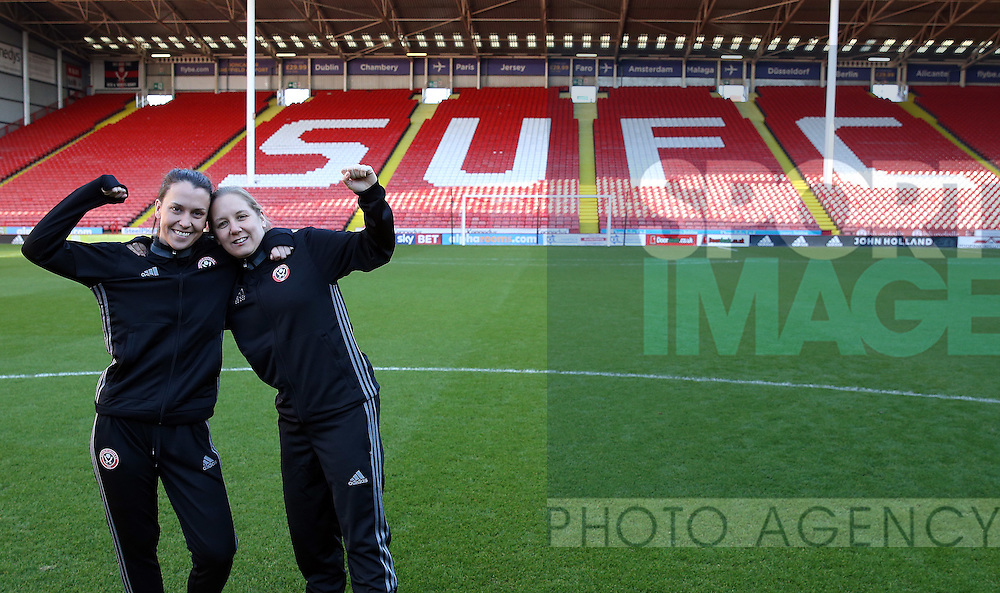 Sheffield United Ladies' Rosa Neary (left) and Rachel Ruddach pose for a photo prior to kick off during the FA Women's Cup First Round match at Bramall Lane Stadium, Sheffield. Picture date: December 4th, 2016. Pic Clint Hughes/Sportimage
