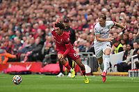 Football - 2021 / 2022 Premier League - Liverpool vs Burnley - Anfield - Saturday 21st August 2021<br /> <br /> <br /> <br /> <br /> Liverpool's Trent Alexander-Arnold battles with Burnley's Ashley Barnes