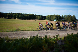 Megan Guarnier (USA) and Christine Majerus (LUX) lead the bunch across the first gravel sector at Postnord Vårgårda West Sweden Road Race 2018, a 141 km road race in Vårgårda, Sweden on August 13, 2018. Photo by Sean Robinson/velofocus.com