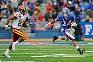 October 10, 2009: Wide receiver Bradley McDougald #24 of the Kansas Jayhawks rushes up field against pressure from defensive back Te'ran Benton #22 of the Iowa State Cyclones during the third quarter at Memorial Stadium in Lawrence, Kansas.  Kansas defeated the Cyclones 41-36.