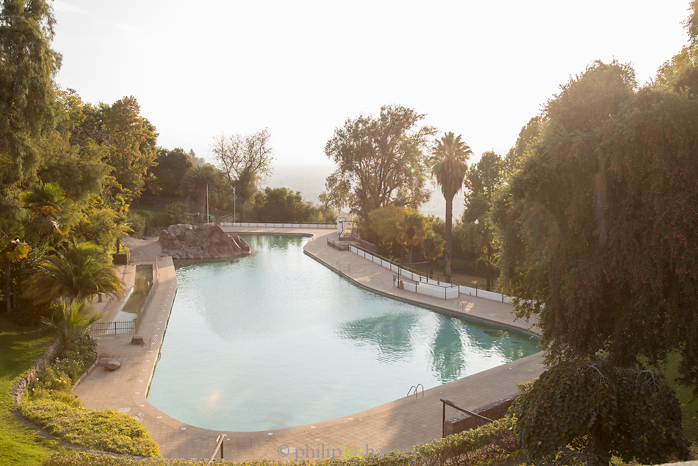 High angle view of swimming pool - Piscina Tupahue on San Cristobal Hill, Santiago, Chile