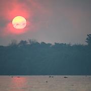 Sunset over the Cuiaba river, Pantanal Brazil.