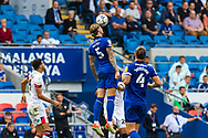 Cardiff City defender Aden Flint  (5) heads clear during the EFL Sky Bet Championship match between Cardiff City and Bournemouth at the Cardiff City Stadium, Cardiff, Wales on 18 September 2021.