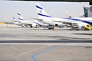 Israel, Ben-Gurion international Airport A line of El Al passenger Jets on the ground
