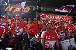 Fans of Krim Mercator at handball match of 2nd Round of EHF Women`s Championsleague between RK Krim Mercator (SLO) and Metz Handball (FRA), in Arena Kodeljevo, Ljubljana, Slovenia, on November 9, 2008. Metz  won match against RK Krim Mercator with 31:26.