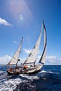 Moonshadow sailing in the Windward Race at the Antigua Classic Yacht Regatta.
