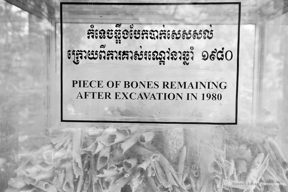 Human Bones inside a plastic box at The Killing Fields, Choeung Ek. 17 km South of Phnom Penh, Cambodia