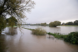 © Licensed to London News Pictures. 01/10/2019. Whitherley. Warwickshire, UK. <br /> The banks of the river Anker have been flooded leading to fields covered in water. Photo credit: Dave Warren/LNP