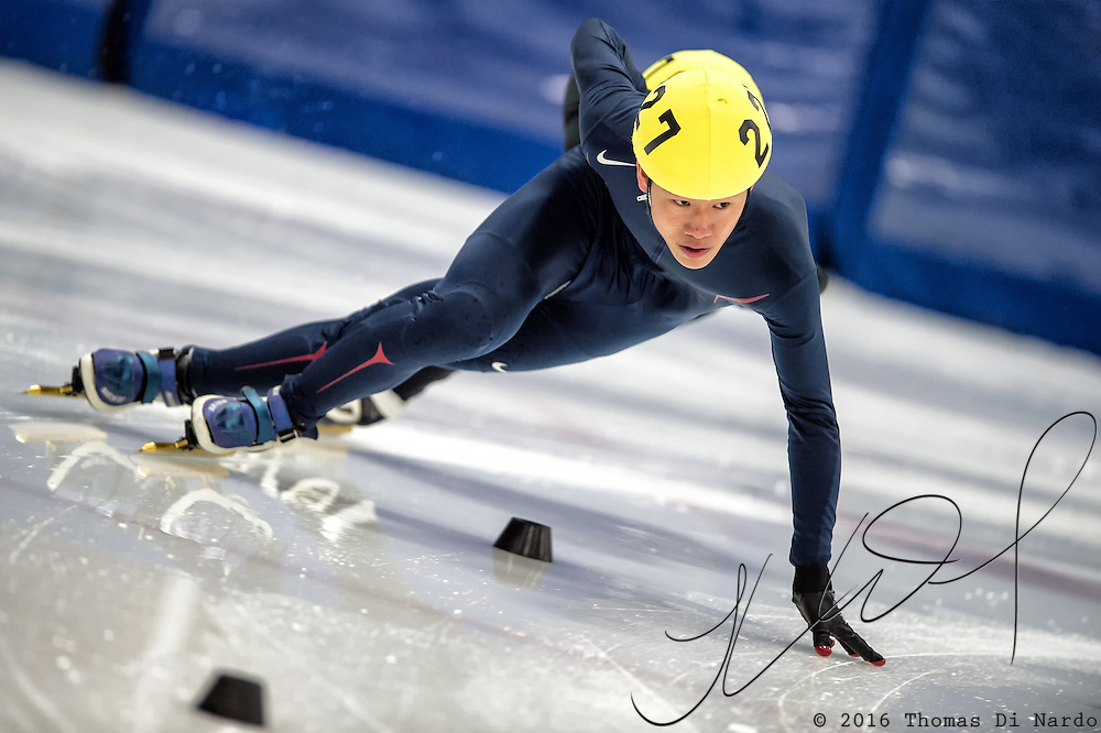 March 20, 2016 - Verona, WI - Chiyuan Zhong, skater number 227 competes in US Speedskating Short Track Age Group Nationals and AmCup Final held at the Verona Ice Arena.