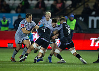 Rugby Union - 2020 / 2021 Gallagher Premiership - Newcastle Falcons vs Sale - Kingston Park<br /> <br /> Ben Curry of Sale Sharks is tackled by Connor Collett of Newcastle Falcons and Gary Graham of Newcastle Falcons<br /> <br /> COLORSPORT/BRUCE WHITE