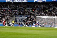 Adam Lallana of Liverpool sees his penalty saved by Manchester city goalkeeper Wilfredo Caballero in the penalty shoot out. Capital One Cup Final, Liverpool v Manchester City at Wembley stadium in London, England on Sunday 28th Feb 2016. pic by Chris Stading, Andrew Orchard sports photography.