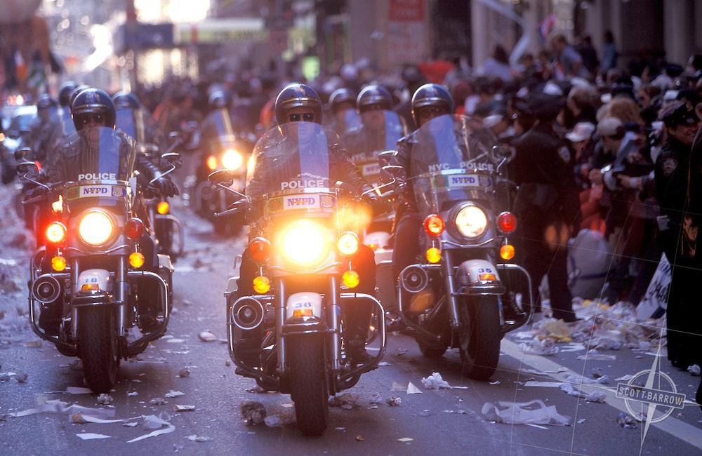 Ticker tape police escorts/Yankees parade