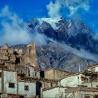 "Yak Khowa Mountain (""Yak Face') towers over Jarkot Village, north of Annapurna in Nepal."
