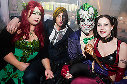 The Hubs, Hallam Union, Paternoster Row plays host to Sheffield's biggest Fancy Dress Ball. More than 900 people in fancy dress to raise money for Cancer Research on Saturday night .Nichola Dyke Antony Crozier  Adi Taylor and Laura Bagley...6 April  2013.Image © Paul David Drabble
