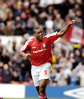 Photo: Leigh Quinnell.<br /> Nottingham Forest v Swindon Town. Coca Cola League 1. 25/02/2006. Wes Morgan celebrates his goal for Nottingham Forest.