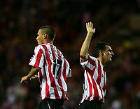 Fotball<br /> England 2005/2006<br /> Foto: SBI/Digitalsport<br /> NORWAY ONLY<br /> <br /> Sunderland v Manchester City<br /> The Barclays Premiership.<br /> 23/08/2005.<br /> Sunderland celebrate their first goal, scored by Anthony Le Tallec (L).