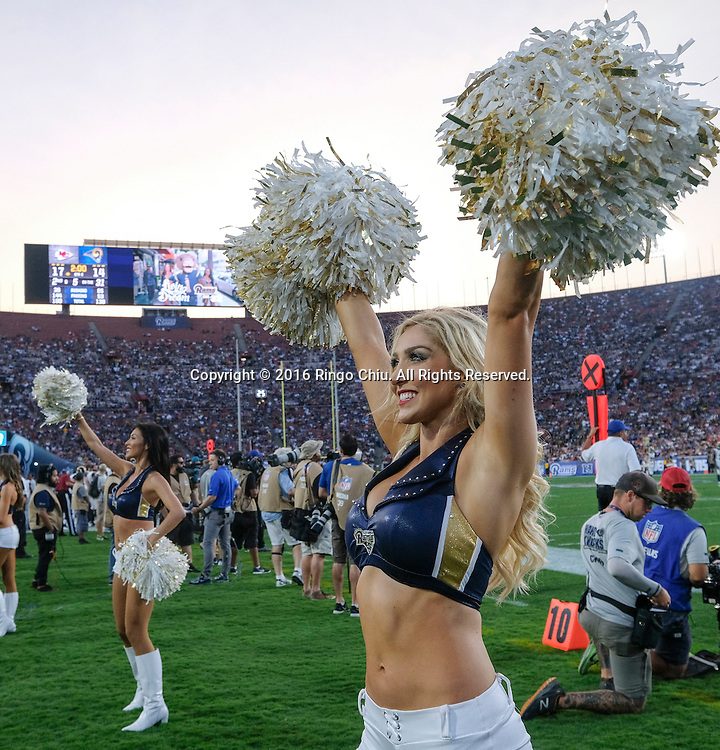 Los Angeles Rams cheerleaders perform during a preseason NFL football game against Kansas City Chiefs, Saturday, Aug. 20, 2016, in Los Angeles. The Rams won 21-20. (Photo by Ringo Chiu/PHOTOFORMULA.com)<br /> <br /> Usage Notes: This content is intended for editorial use only. For other uses, additional clearances may be required.