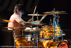Chris Worley on drums during the Jackyl free concert at Destination Daytona during Biketoberfest, Ormond Beach, FL, October 18, 2014, photographed by Michael Lichter. ©2014 Michael Lichter