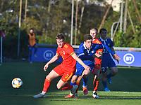 Football - 2023 UEFA U21 Championship - Qualifying - Group E - Wales vs Moldova - Steboneath Park, Llanelli<br /> <br /> Edward Jones Wales defends <br /> <br /> COLORSPORT/WINSTON BYNORTH