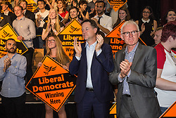 © Licensed to London News Pictures. 16/07/2015. London, UK. Nick Clegg with Norman Lamb at Islington Assembly Hall before Tim Farron's first rally as Leader of the Liberal Democrats after beating Norman Lamb in the contest to succeed Nick Clegg. Photo credit : James Gourley/LNP