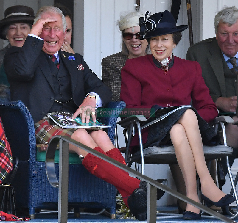 Members of The Royal Family attend The Braemar Royal Highland Gathering in Braemar, Aberdeenshire, UK, on the 2nd September 2017. 02 Sep 2017 Pictured: Prince Charles, Prince of Wales, Princess Anne, Princess Royal. Photo credit: James Whatling / MEGA TheMegaAgency.com +1 888 505 6342