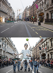 © Licensed to London News Pictures. 01/01/2021. London, UK. A comparison showing empty streets around Piccadilly in central London today, New Years's Day 2021 (TOP) and the same scene last year during the annual New Years Day Parade (BOTTOM), which has been cancelled due to the spread of COVID-19. This years parade will be replaced by a limited televised event. Photo credit: Ben Cawthra/Rob PinneyLNP