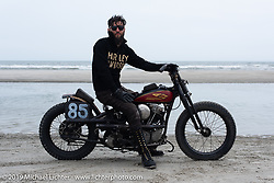 Brian Charles with his 1941 Harley-Davidson Knucklehead racer (in a 1936 VL frame) at TROG (The Race Of Gentlemen). Wildwood, NJ. USA. Sunday June 10, 2018. Photography ©2018 Michael Lichter.
