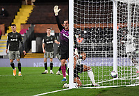 Football - 2020 / 2021 EFL Cup - Round 3 - Fulham vs Sheffield Wednesday<br /> <br /> Fulham's Bobby Decordova-Reid scores his side's second goal despite Sheffield Wednesday's Joe Wildsmith's protests, at Craven Cottage.<br /> <br /> COLORSPORT/ASHLEY WESTERN