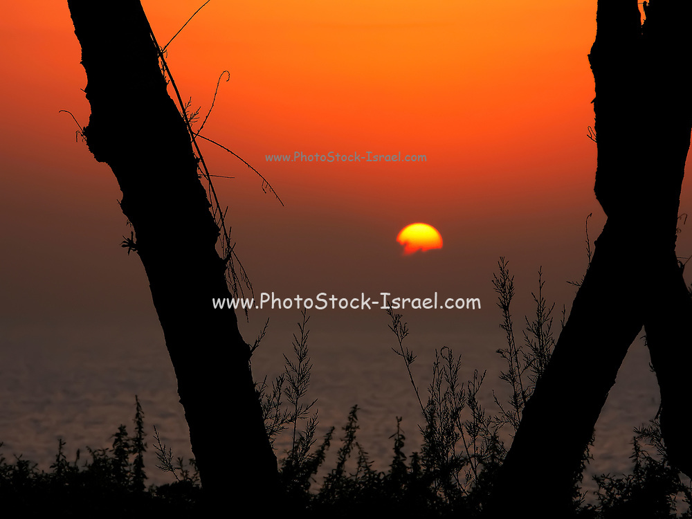 Sun set over the Mediterranean sea. Photographed from the beach of Netanyz, Israel